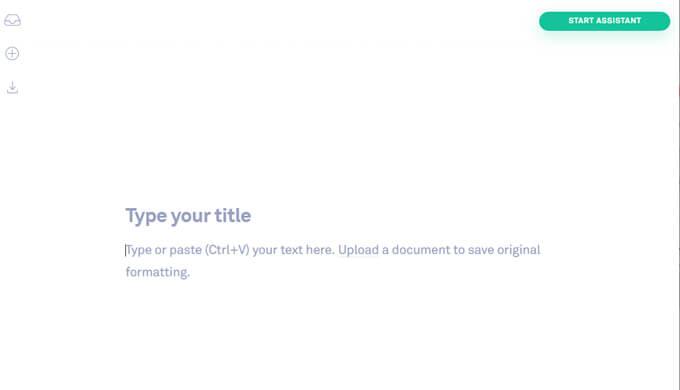 Grammarlyで英文を入力する画面