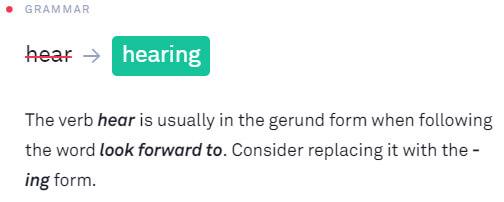 Grammarlyの添削結果には解説がつく